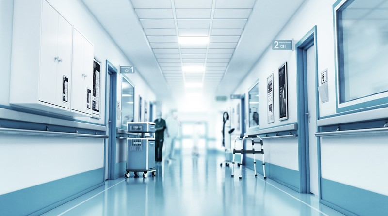 Medical concept. Hospital corridor with rooms.